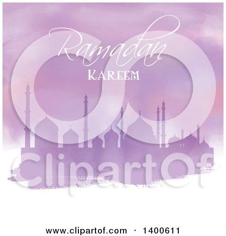 Clipart of a Purple Watercolor Ramadan Kareem Background with a Silhouetted Mosque - Royalty Free Vector Illustration by KJ Pargeter
