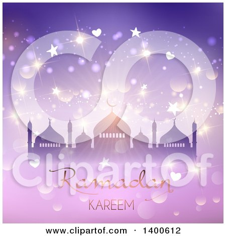 Clipart of a Ramadan Kareem Background with a Silhouetted Mosque over Purple with Flares - Royalty Free Vector Illustration by KJ Pargeter