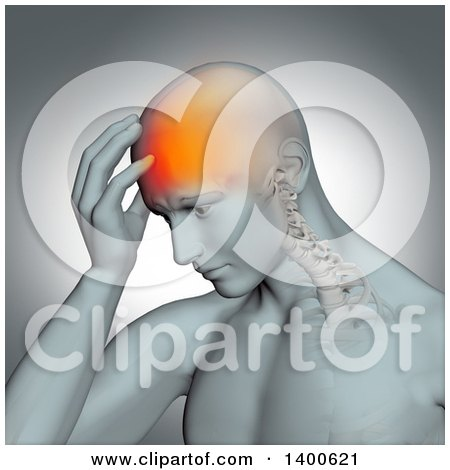 Clipart of a 3d Anatomical Man with a Glowing Headache, and Barely Visible Spine on a Gray Background - Royalty Free Illustration by KJ Pargeter