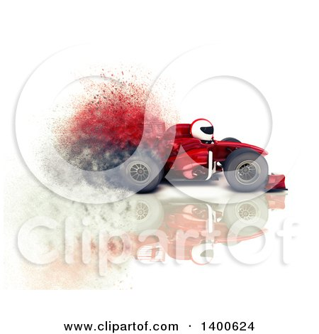 Clipart of a 3d Driver in a Formula One Race Car, with Speed Effect, on a White Background - Royalty Free Illustration by KJ Pargeter