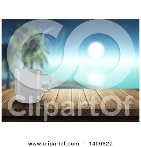 Clipart of a 3d Steamy White Coffee Mug on a Wooden Bar, Overlooking a Tropical Beach - Royalty Free Illustration by KJ Pargeter