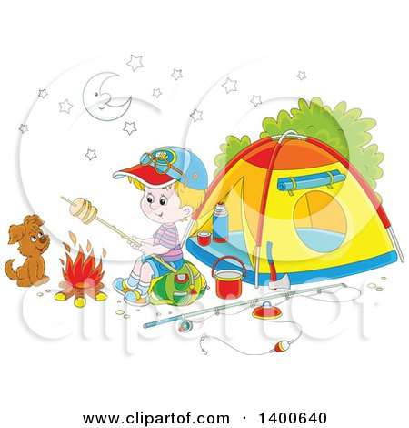 Clipart of a Happy White Boy and Puppy Roasting over a Fire at a Camp Site - Royalty Free Vector Illustration by Alex Bannykh