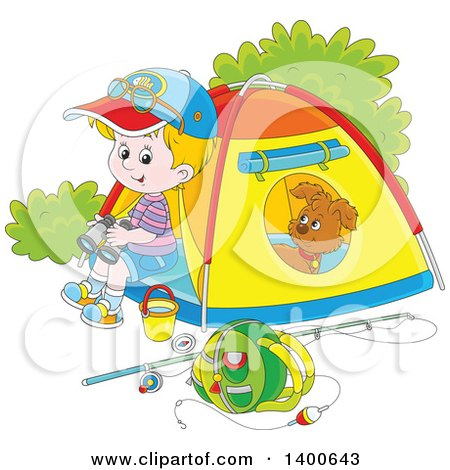 Clipart of a Happy Blond White Boy and Puppy at a Camp Site - Royalty Free Vector Illustration by Alex Bannykh