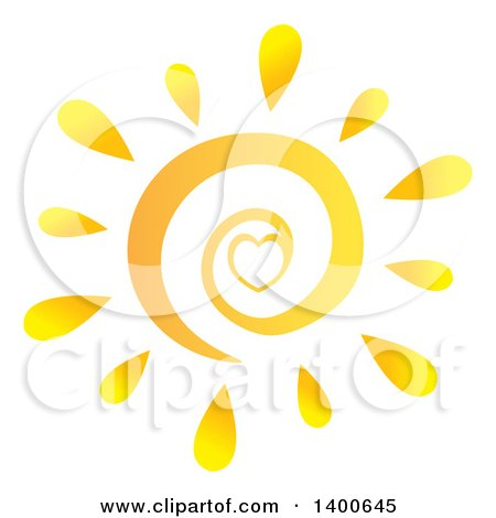 Clipart of a Spiral and Heart Summer Sun - Royalty Free Vector Illustration by Hit Toon