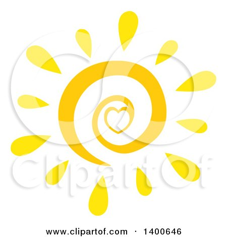 Clipart Of A Spiral And Heart Summer Sun Royalty Free Vector Illustration