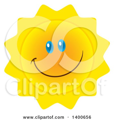 Clipart of a Happy Sun Smiling - Royalty Free Vector Illustration by Hit Toon