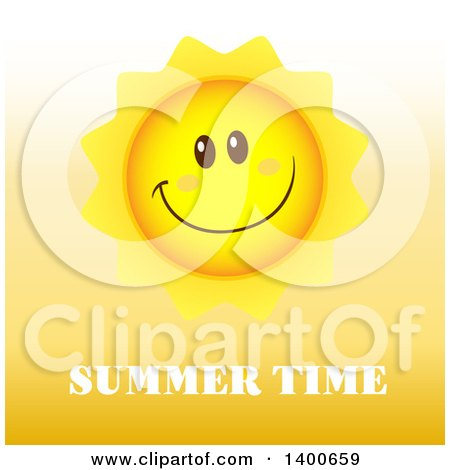Clipart of a Happy Sun Smiling over Summer Time Text - Royalty Free Vector Illustration by Hit Toon