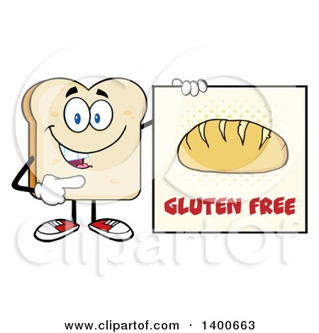 Clipart of a White Sliced Bread Character Mascot Holding a Gluten Free Sign - Royalty Free Vector Illustration by Hit Toon