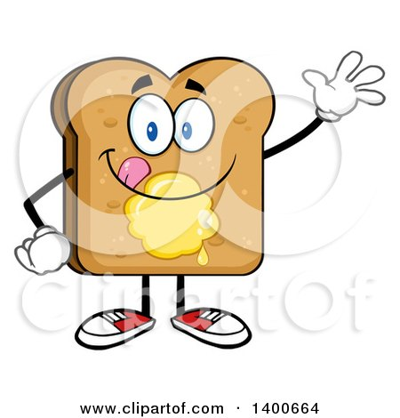 Clipart of a Waving Toasted Bread Character Mascot with Butter - Royalty Free Vector Illustration by Hit Toon