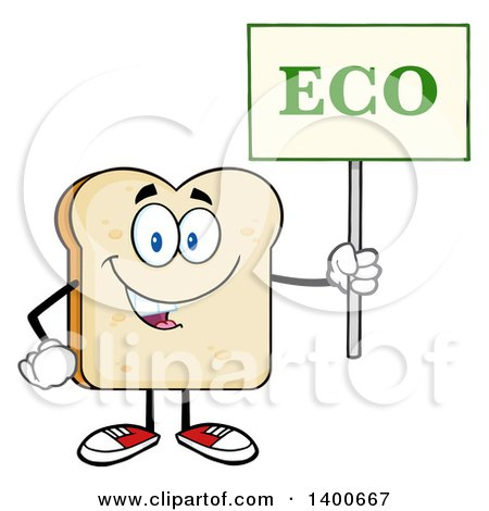 Clipart of a White Sliced Bread Character Mascot Holding an Eco Sign - Royalty Free Vector Illustration by Hit Toon