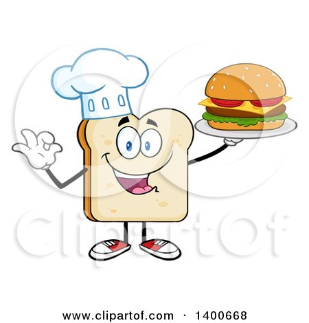 Clipart of a White Sliced Bread Chef Character Mascot Serving a Cheeseburger - Royalty Free Vector Illustration by Hit Toon