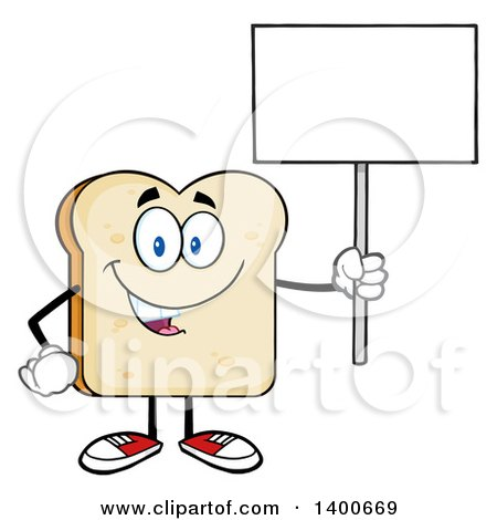 Clipart of a White Sliced Bread Character Mascot Holding up a Blank Sign - Royalty Free Vector Illustration by Hit Toon