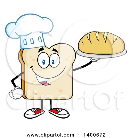 Clipart of a White Sliced Bread Chef Character Mascot Serving a Loaf - Royalty Free Vector Illustration by Hit Toon
