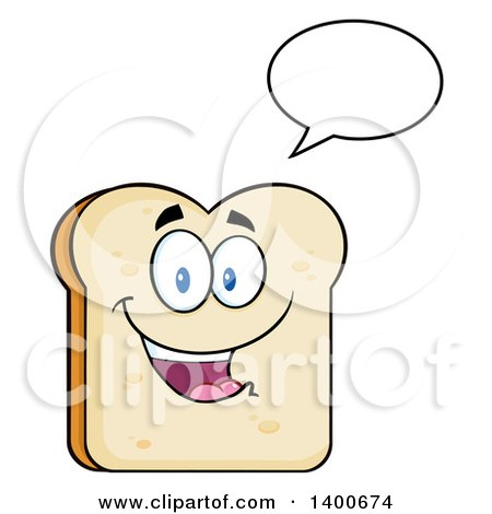 Clipart of a White Sliced Bread Character Mascot Talking - Royalty Free Vector Illustration by Hit Toon