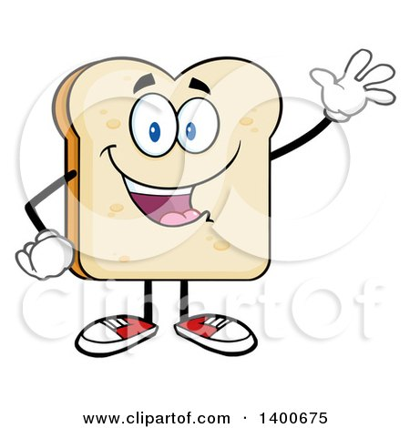 Clipart of a White Sliced Bread Character Mascot Waving - Royalty Free Vector Illustration by Hit Toon