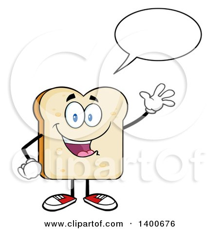 Clipart of a White Sliced Bread Character Mascot Talking and Waving - Royalty Free Vector Illustration by Hit Toon