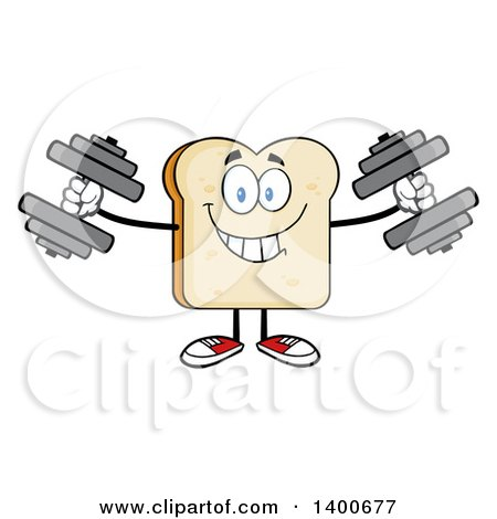 Clipart of a White Sliced Bread Character Mascot Working out with Dumbbells - Royalty Free Vector Illustration by Hit Toon