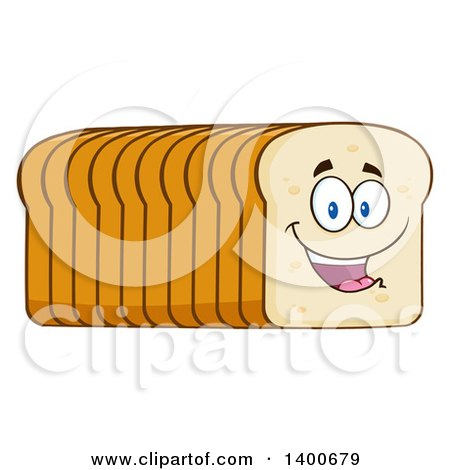 Clipart of a Loaf of Sliced Bread Character Mascot - Royalty Free Vector Illustration by Hit Toon