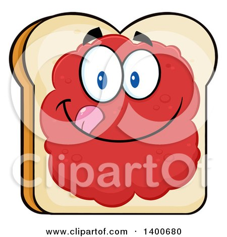 Clipart of a White Sliced Bread Character Mascot with Jam - Royalty Free Vector Illustration by Hit Toon