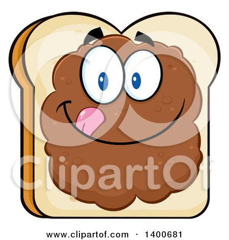 Clipart of a White Sliced Bread Character Mascot with Peanut Butter - Royalty Free Vector Illustration by Hit Toon