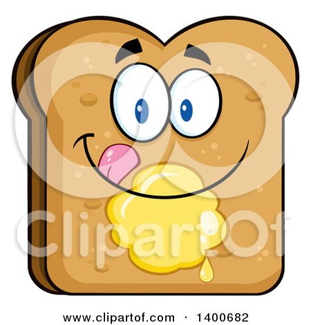 Clipart of a Toasted Bread Character Mascot with Butter - Royalty Free Vector Illustration by Hit Toon