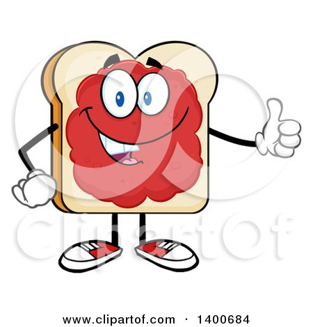 Clipart of a White Sliced Bread Character Mascot with Jam, Giving a Thumb up - Royalty Free Vector Illustration by Hit Toon