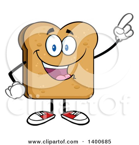 Clipart of a Toasted Bread Character Mascot Holding up a Finger - Royalty Free Vector Illustration by Hit Toon