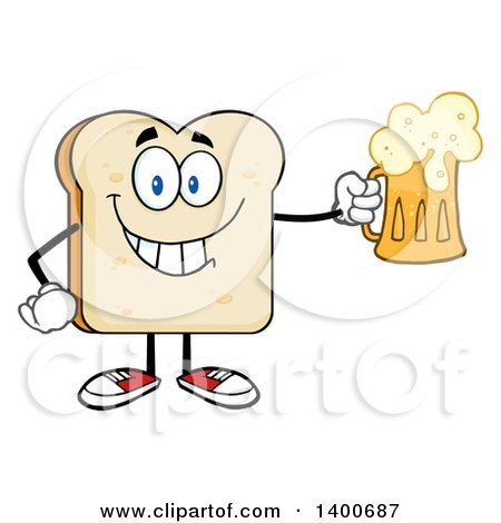 Clipart of a White Sliced Bread Character Mascot Holding a Beer - Royalty Free Vector Illustration by Hit Toon