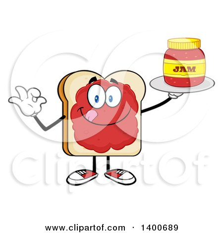Clipart of a White Sliced Bread Character Mascot Gesturing Ok and Serving Jam - Royalty Free Vector Illustration by Hit Toon