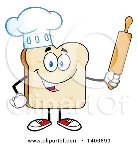 Clipart of a White Sliced Bread Baker Chef Character Mascot Holding a Rolling Pin - Royalty Free Vector Illustration by Hit Toon