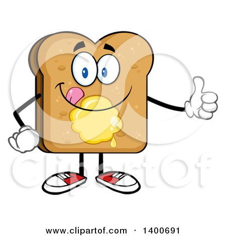 Clipart of a Toasted Bread Character Mascot with Butter, Giving a Thumb up and Licking His Lips - Royalty Free Vector Illustration by Hit Toon