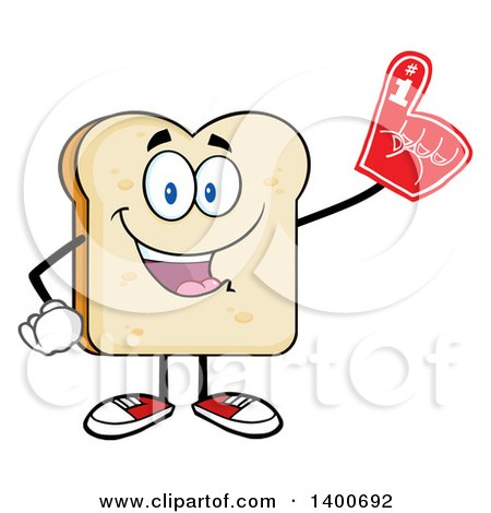 Clipart of a White Sliced Bread Character Mascot Wearing a Foam Finger - Royalty Free Vector Illustration by Hit Toon