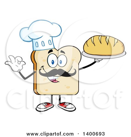Clipart of a White Sliced Bread Baker Chef Character Mascot Serving a Loaf - Royalty Free Vector Illustration by Hit Toon