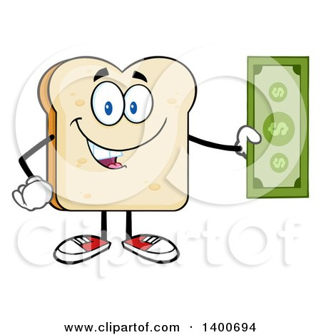 Clipart of a White Sliced Bread Character Mascot Holding Cash Money - Royalty Free Vector Illustration by Hit Toon
