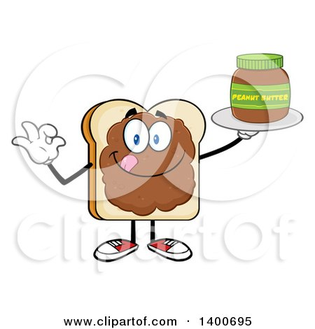 Clipart of a White Sliced Bread Character Mascot Geturing Ok and Serving Peanut Butter - Royalty Free Vector Illustration by Hit Toon