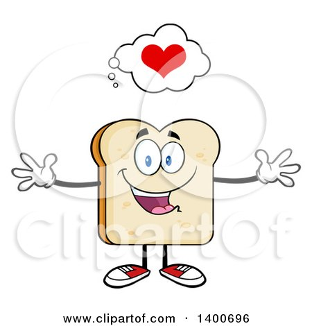 Clipart of a Loving White Sliced Bread Character Mascot with Open Arms - Royalty Free Vector Illustration by Hit Toon