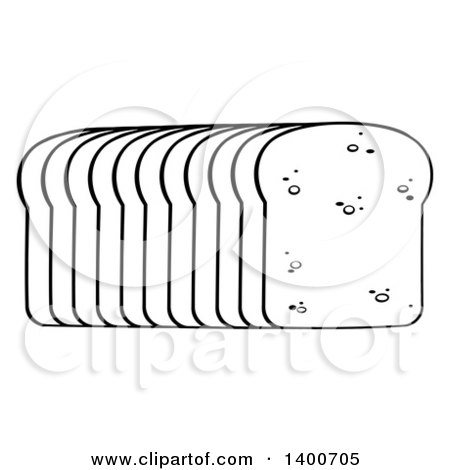 Clipart of a Black and White Lineart Loaf of Sliced Bread - Royalty Free Vector Illustration by Hit Toon