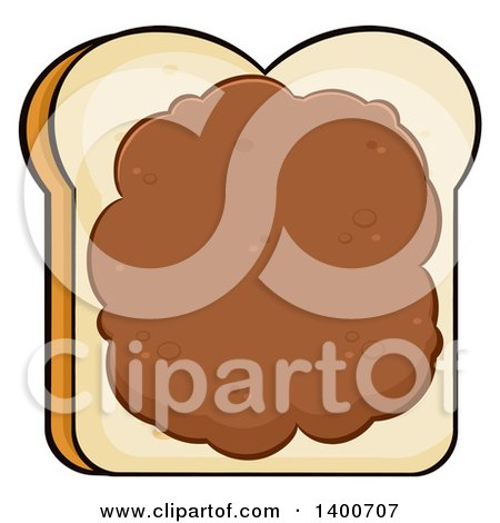Clipart of a Piece of White Sliced Bread with Peanut Butter - Royalty Free Vector Illustration by Hit Toon
