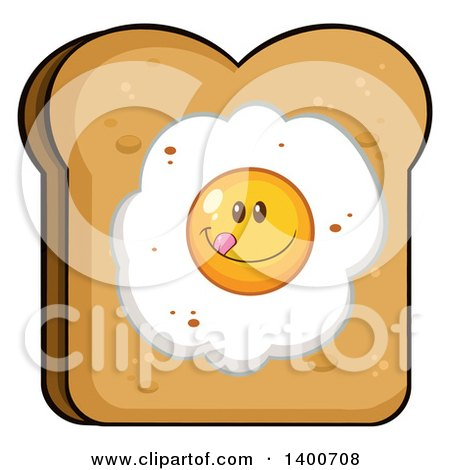 Clipart of a Piece of Toasted Bread with a Fried Egg Character - Royalty Free Vector Illustration by Hit Toon