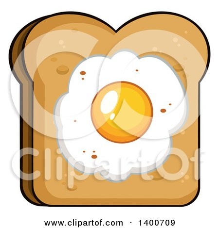 Clipart of a Piece of Toasted Bread with a Fried Egg - Royalty Free Vector Illustration by Hit Toon