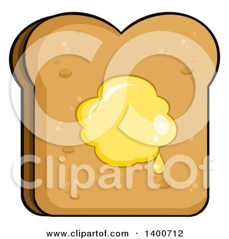 Clipart of a Piece of Toasted Bread with Butter - Royalty Free Vector Illustration by Hit Toon