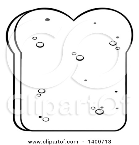 Clipart of a Black and White Lineart Piece of White Sliced Bread - Royalty Free Vector Illustration by Hit Toon