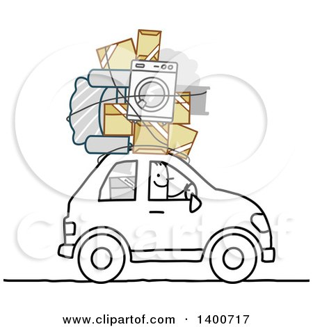 Clipart of a Stick Man Moving, with His Belongings on Top of His Car - Royalty Free Vector Illustration by NL shop