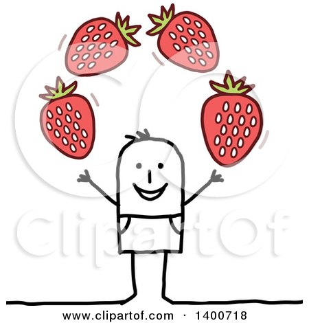 Clipart of a Stick Man Juggling Strawberries - Royalty Free Vector Illustration by NL shop