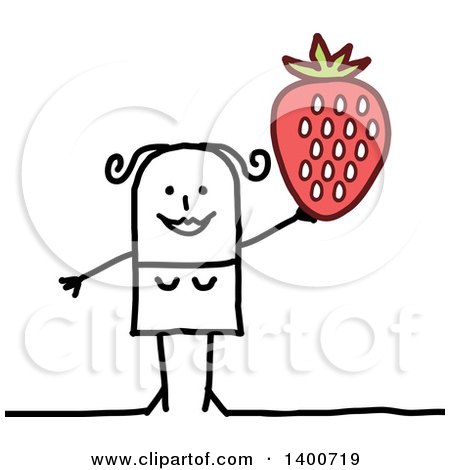 Clipart of a Stick Woman Holding up a Giant Strawberry - Royalty Free Vector Illustration by NL shop