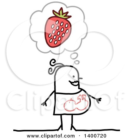 Clipart of a Pregnant Stick Woman Craving Strawberries - Royalty Free Vector Illustration by NL shop