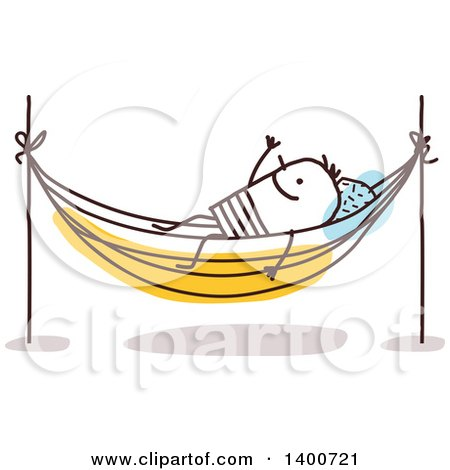 Clipart of a Stick Man Resting on a Hammock - Royalty Free Vector Illustration by NL shop