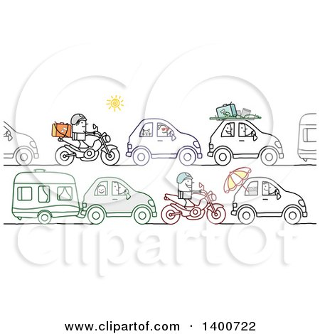 Clipart of a Traffic Jam of People Going off on Summer Vacation - Royalty Free Vector Illustration by NL shop