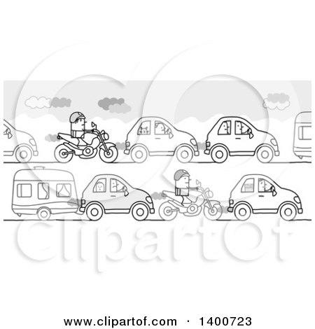 Clipart of a Grayscale Traffic Jam of People Going off on Summer Vacation - Royalty Free Vector Illustration by NL shop