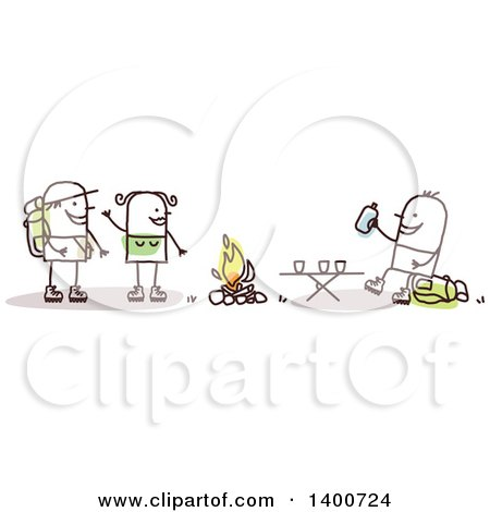 Clipart of a Stick Couple Making a Friend While Camping and Hiking - Royalty Free Vector Illustration by NL shop